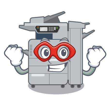 Super hero copier machine isolated in the cartoon