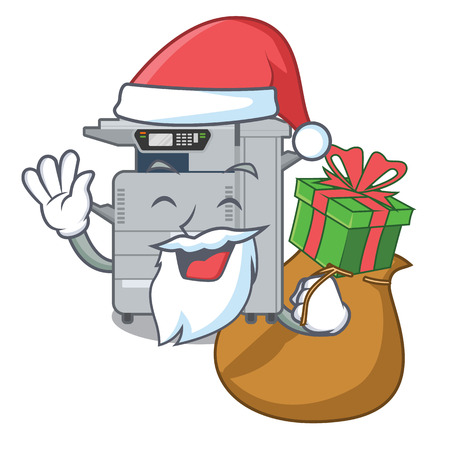 Santa with gift copier machine next to character chair