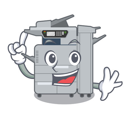 Finger copier machine next to character chair vector illustration