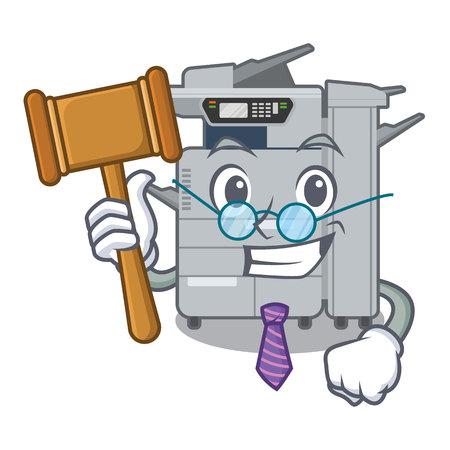 Judge copier machine next to character chair
