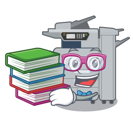 Student with book copier machine next to character chair vector illustration