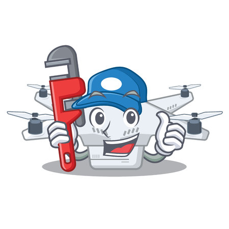 Plumber drone on a wooden cartoon table vector illustration