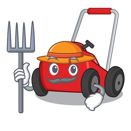 Farmer lawnmower in the a mascot shape vector illustration Vektorgrafik