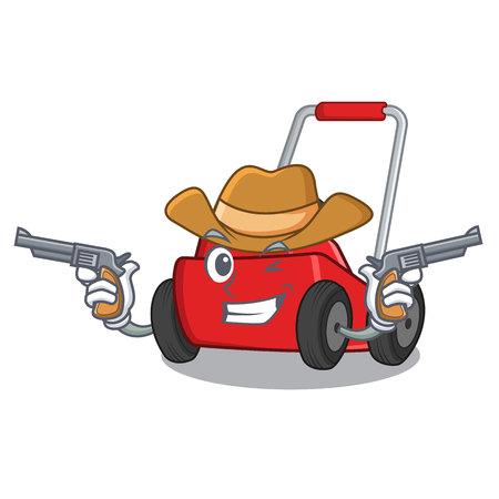 Cowboy-Rasenmäher in Maskottchenform