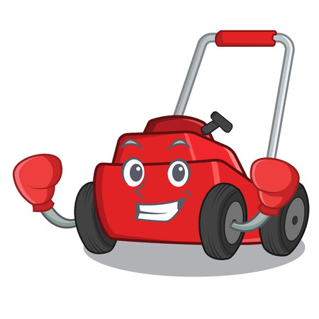 Boxing lawnmower in the a mascot shape vector illustration