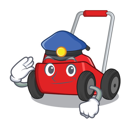 Police lawnmower in the a mascot shape vector illustration Ilustrace