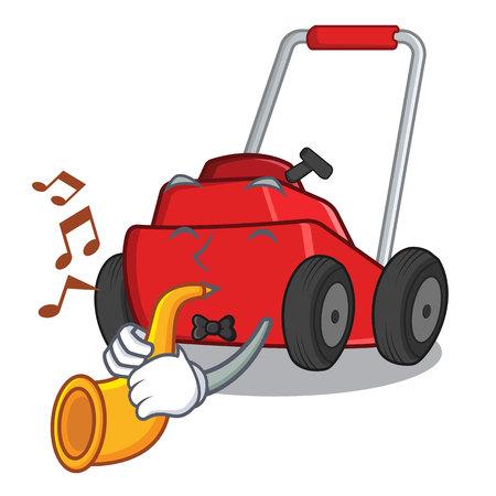 Avec des jouets de tondeuse à gazon trompette dans l'illustration vectorielle de forme de personnage Vecteurs