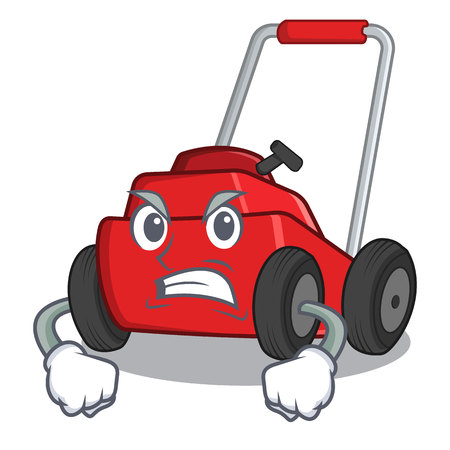 Angry lawnmower toys in the character shape vector illustration
