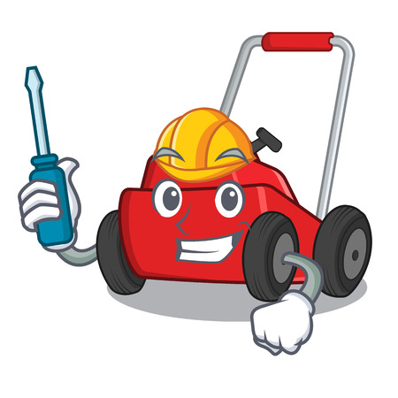 Automotive cartoon lawnmower in the a warehouse vector illustration