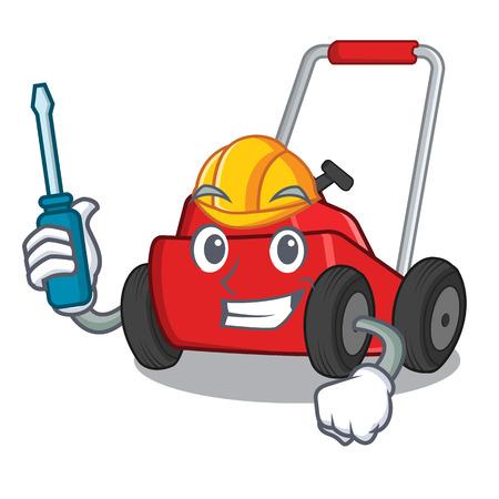 Tondeuse à gazon de dessin animé automobile dans l'illustration vectorielle d'un entrepôt