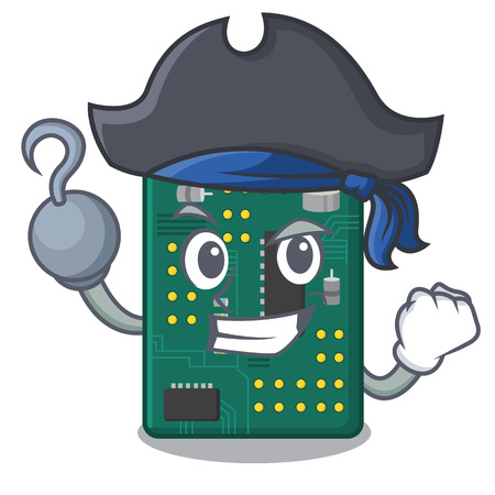 Pirate circuit board pcb isolated with mascot