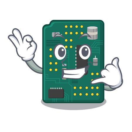 Call me PCB circuit board in the cartoon Ilustração