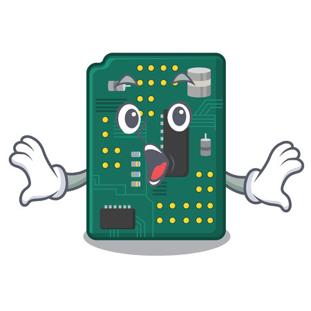 Surprised PCB circuit board in PC characters vector ilustration Illustration