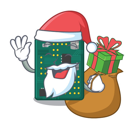 Santa with gift PCB circuit board in the cartoon