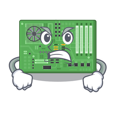 Angry motherboard in the a computer cartoon