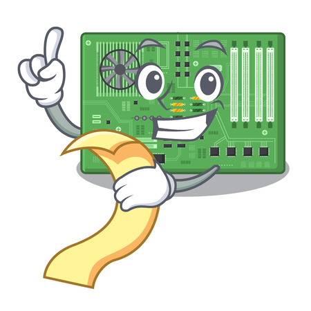 With menu motherboard in the a computer cartoon vector illustration