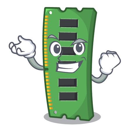 Successful RAM memory card the mascot shape vector illustration