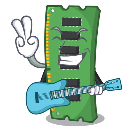 With guitar RAM memory card in PC character vector illustration Stock Illustratie