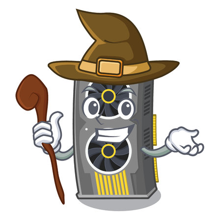 Witch video graphics card in PC character vector illustration