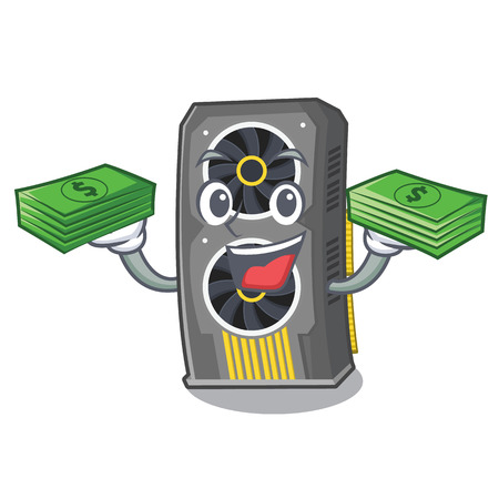 With money bag video graphics card in PC character Illustration