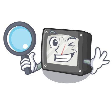 Detective ampere meter in the cartoon shape