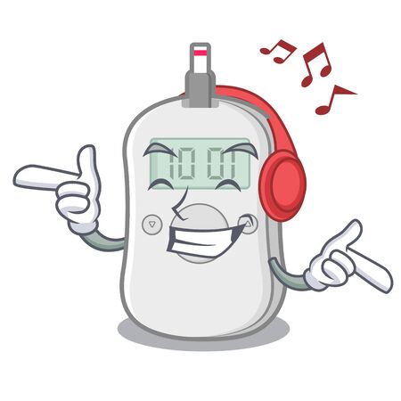 Listening music diabetes check machine cartoon medicine box vector illustration