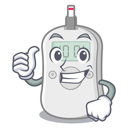 Thumbs up diabetes check machine isolated the cartoon