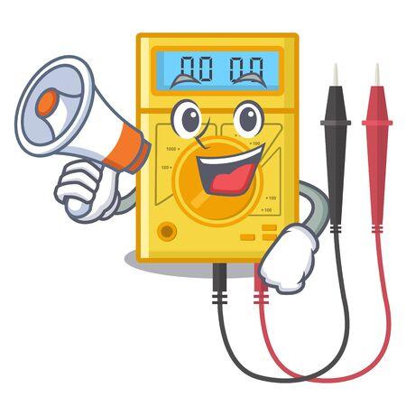 With megaphone digital multimeter in the mascot closet Ilustração
