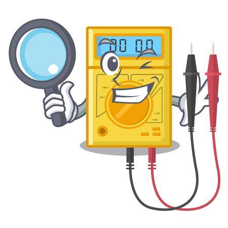 Multimètre numérique de détective isolé avec le caractère