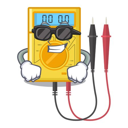 Super cool digital multimeter isolated with the character Vector Illustration
