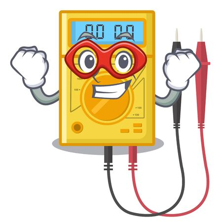 Super hero digital multimeter isolated with the character Illustration