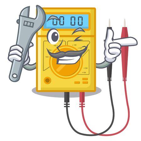 Mechanische digitale multimeter plakt aan de tekenfilmmuur Vector Illustratie