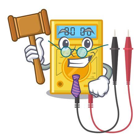 Judge digital multimeter sticks to the cartoon wall Vektoros illusztráció
