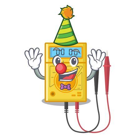 Clown digital multimeter sticks to the cartoon wall Ilustração