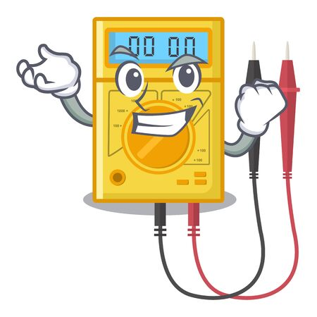 Successful digital multimeter isolated with the character Illustration