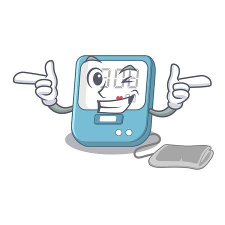 Wink blood pressure in the mascot shape Ilustração