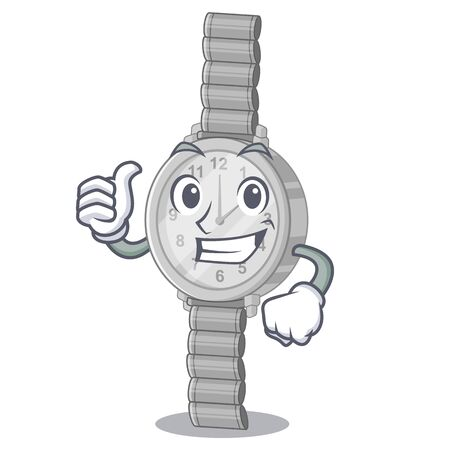Thumbs up wristwatch in the a character shape vector illustration Illustration