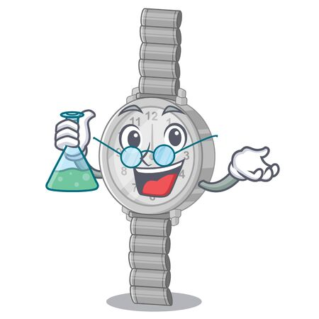 Professor wristwatch in the a character shape vector illustration