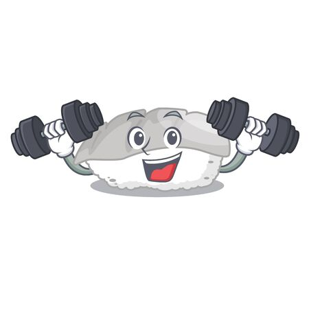 Fitness ika sushi isolated with the cartoon vector illustration