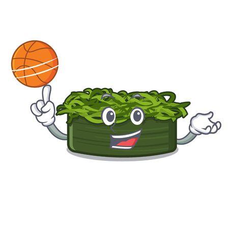 With basketball wakame chuka is served cartoon plates vector illustration