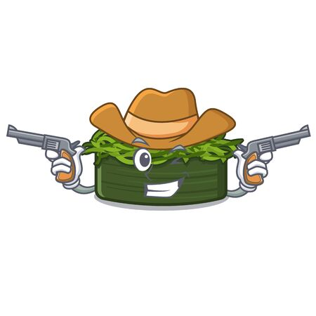 Cowboy wakame chuka is served cartoon plates vector illustration