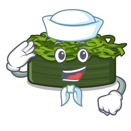 Sailor wakame chuka is served cartoon plates vector illustration