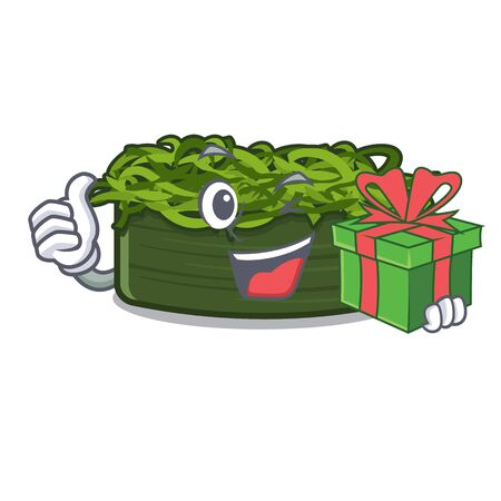With gift wakame chuka in the character shape vector illustration Ilustração