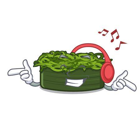 Listening music wakame chuka in the character shape vector illustration Ilustração