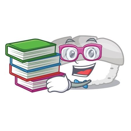 Student with book ika sushi in charater lunch box vector illustration