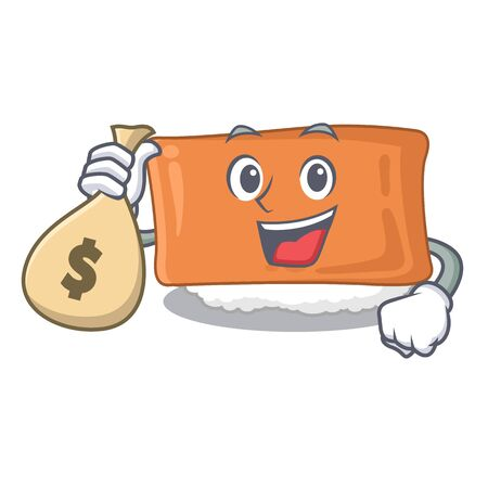 With money bag inari sushi is served character plate vector illustration