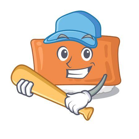 Playing baseball inari sushi is served character plate vector illustration