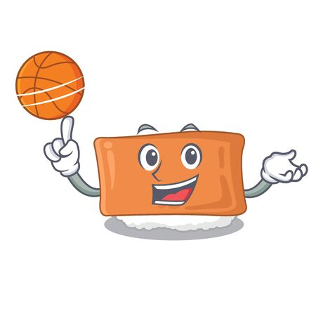 With basketball inari sushi is served character plate vector illustration