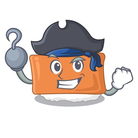 Pirate inari sushi is served character plate vector illustration