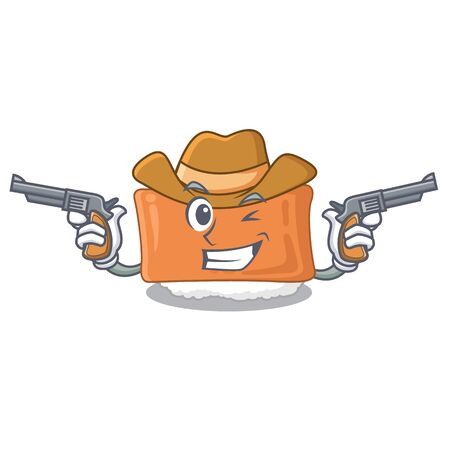Cowboy inari sushi is served character plate vector illustration Illustration